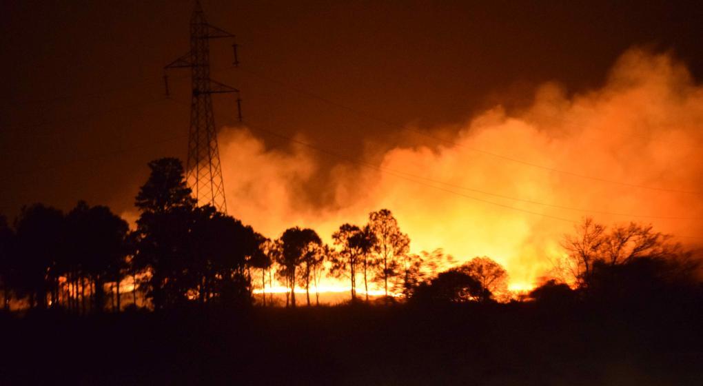 Incendio en la reserva natural de Valle Hermoso