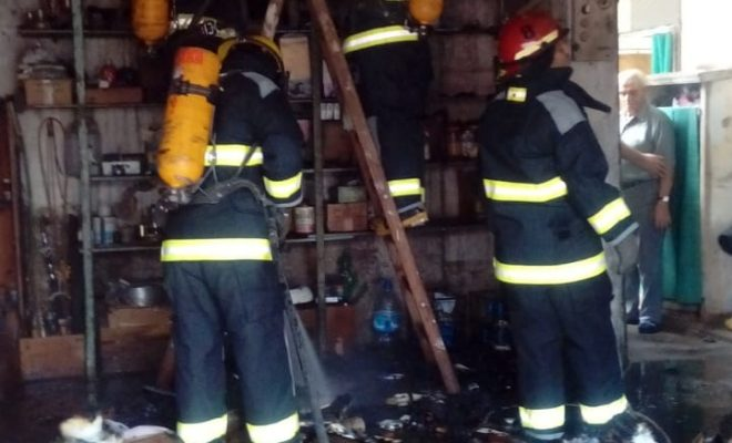 Incendio en garaje de barrio Sur