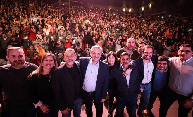 Junto a Walter Saieg, intendentes del Departamento Santa María acompañaron la visita de Alberto Fernández