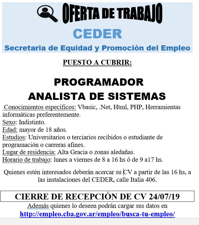 CEDER y una nueva oferta laboral para vecinos de Alta Gracia