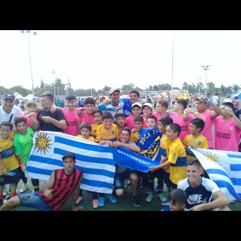 Festejo con el equipo de Uruguay